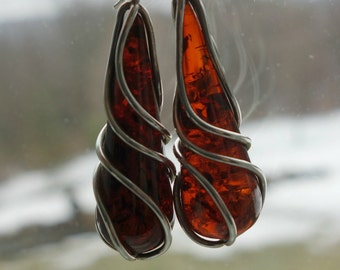 Amber Sterling Silver Long Drop Earrings