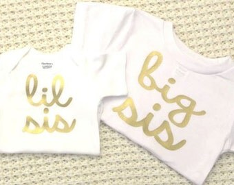 Big Sis Lil Sis - gold vinyl iron-on heat transfer appliques- LETTERING ONLY