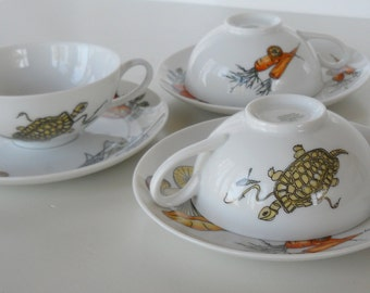 Vintage K&A Krautheim Selb Bavaria Germany Set of Three Cups and Saucers, Sealife and Vegetable Motif