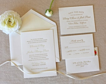 Letterpress Wedding Invitation - Bello Design - Foil, Calligraphy,Traditional, Elegant, Simple, Classic, Script, Custom, Formal