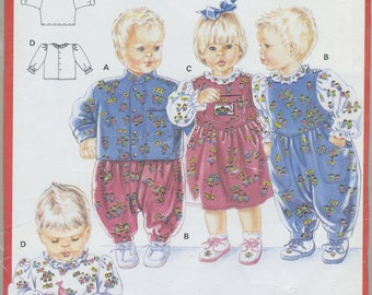 Jacket, Overalls, Jumper, Blouse Sewing Pattern Infant Toddler Size 3 Mo, 6 Mo, 12 Mo, 18 Mo, 2, 3 Years, Burda 5573, UNCUT, Romper, Dress