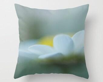 Decorative photo pillow cover, white daisy photo pillow, muted throw pillow, white yellow gray pillow, flower pillow, living room decor