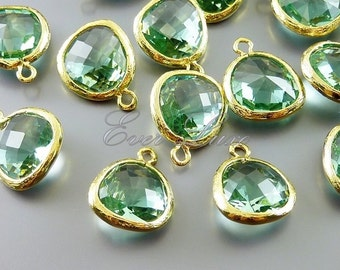 2 prasiolite light green unique glass charms for jewelry making / glass jewelry supplies 5031G-PR (bright gold, prasiolite, 2 pieces)
