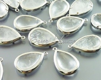 2 wedding jewelry findings   crystal quartz reconstructed gemstones in bright silver bezel  5121BR-CR