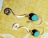 Dangle Earrings, Turquoise Czech Glass and Sterling Silver Hammered Metalwork with Funky Spirals, 2 Inch Design