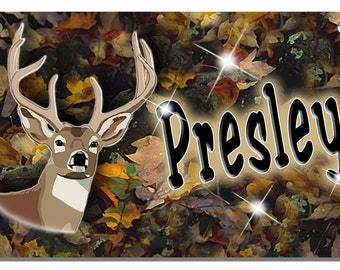 Deer Buck Camouflage Bicycle License Plate Personalized Gifts Girls Boys Teens Camo Hunting Hunters