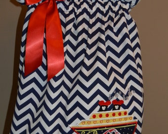 Mickey Mouse Cruise strapped navy blue chevron dress (extra for personalization)