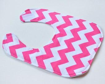 Pink Baby Girl Bibs Drool Bib, Infant Bib, Baby Shower Gift, Baby Items, Baby Bibs, Made from Chevron Fabric