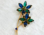 Rhinestone Flower Brooch Emerald Green Sapphire Blue
