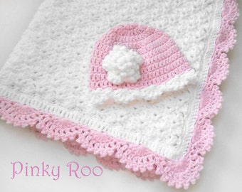 Crochet Baby blanket and hat / Baby girl blanket  / baby shower gift set / photo prop