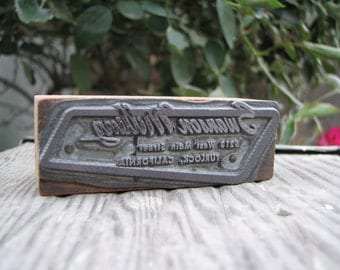 Vintage Letterpress - Metal Printer's Block - Swanson Milling -  Wood - Supplies - Crafts - Paper Crafting - Art - Display - Decor