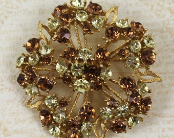 Vintage Yellow and Topaz Gold Filigree Round Rhinestone Brooch