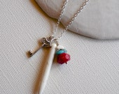 Spike and Key Pendant Layering Necklace. Turquoise Howlite, Red Coral