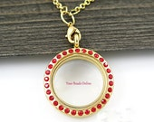 Stainless Steel Gold Floating Locket Round with Rhinestones 32mm - Living Memory or Origami Owl Locket