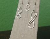 Double wire infinity earrings in sterling silver, infinity symbol, bridal jewelry, sterling silver earrings, infinity jewelry, simple