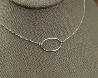 Large infinity oval link necklace in sterling silver, eternity necklace, oval necklace, sterling silver oval, simple silver necklace