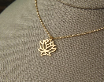 Gold vermeil lotus charm and gold filled necklace, gold lotus necklace, gold necklace, gold lotus pendant, gold jewelry, gold flower