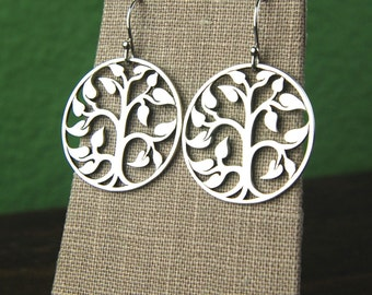 Large sterling silver tree of life pendant earrings, tree pendant, large tree, round pendant, tree earrings, big earrings, nature