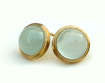 Aquamarine Gold earrings, Aquamarine earrings, Gold Stud earrings, 18K earrings - Aquamarine jewelry