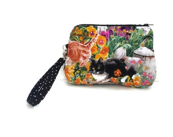 Cat Clutch Bag, Clutch with Strap, small clutch bag, cute purse, cotton fabric bag, Tuxedo Cat Pouch Cat Lover Gift, CarolJoyFashions75 CFJ3