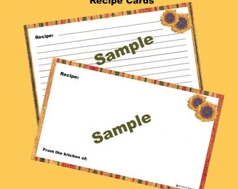 Recipe Cards 3 x 5 Editable and Printable Digital Instant Download for Tuscan Sun Recipe Box