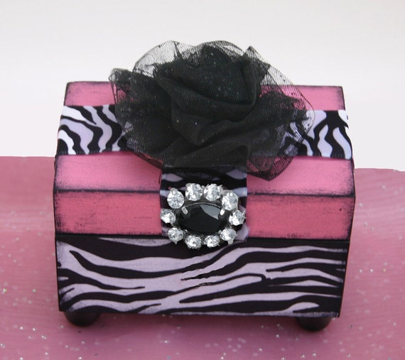 Wood Trinket Keepsake Decorative Jewelry Box Hot Pink Zany Zebra
