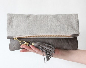 ELODIE leather clutch, fold over clutch in cloud