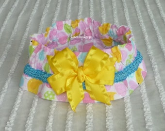 "Small Eggs and Yellow Chicks Dog Scrunchie Collar with braid and bow - Size M: 14"" to 16"" neck - TrY Me PRiCe"