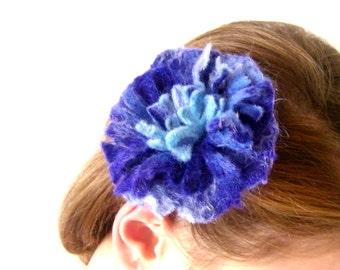 Wet Felted Flower Brooch Hair Pin Cobalt Blue Royal Blue