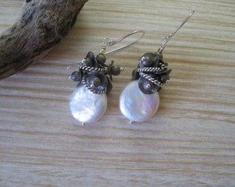 Coin Pearl Earrings Modern Contemporary Oxidized Silver Cluster Fresh Water Cultured Pearl Dangle Earrings Leverback Earrings Sundance Style