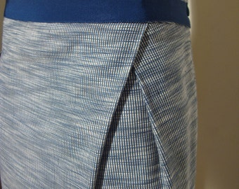 1990's Straight Skirt Blue and White Ikat Textile with Unusual Side Pleat Fully Lined by Jigsaw of London  Size 6