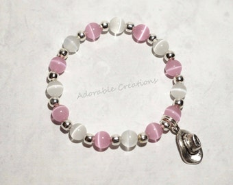 Sheriff Callie Inspired Pink & White Cowgirl Hat Bracelet