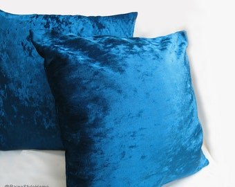 2 Pieces Set. 17inch Turquoise Velvet Pillow Covers Set. Luxury Throw Cushion Covers. 2 Tones Effect