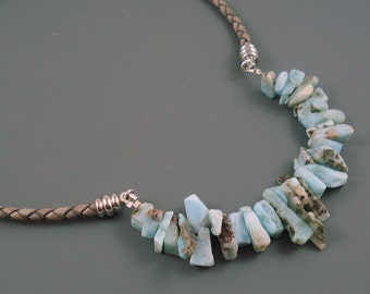 Larimar Necklace, Leather and Larimar Necklace, Grey Leather and Stainless Steel