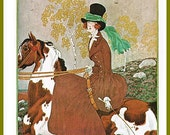 antique art deco vogue cover flapper girl on horse equitarian fashion illustration digital download