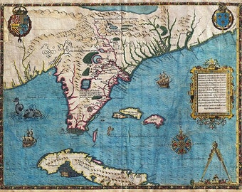 antique map of cuba and florida in 1591 illustration DIGITAL DOWNLOAD