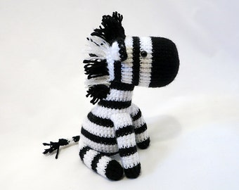 MADE to ORDER - Amigurumi Zebra Plush, Crochet Zebra Doll, Striped Horse, Amigurumi Horse Softie, Safari Toy - Black and White