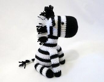 MADE to ORDER - Amigurumi Zebra Plush, Crochet Zebra Doll, Striped Horse, Amigurumi Horse Softie, Safari Toy - Black and White