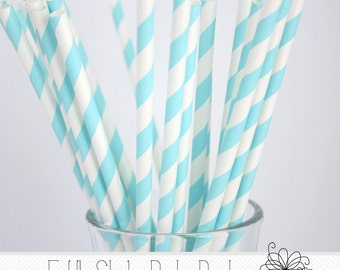 Light Blue Paper Straws- Pack of 25 Straws