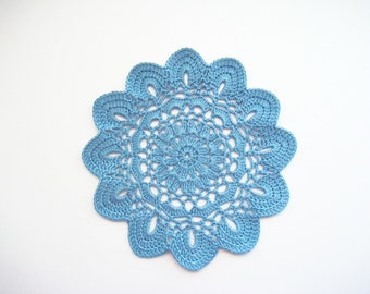 Crochet Doily Blue Cotton Lace with Scalloped Edge Heirloom Quality