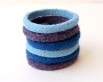 6 Felt Bracelets, Knit Wool Bangles, Stackable Bracelets, Soft Jewelry, Felted Bangles, Festival Jewelry, Unique Bracelets, Colorful Bangles