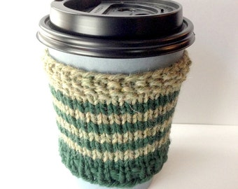 Coffee Sleeve, Green Striped Cup, Knitted Cup Cozy, Coffee Cozy, Cup Collar