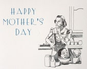 Mothers Day Card Blank Inside - To Serve Man - Macabre Gothic Horror Fan