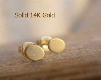 Solid Gold Stud Earring, 14K Gold Oval Studs, Gold Stud Earrings, Small Gold Earrings, Stud Earings, Solid Gold Earrings