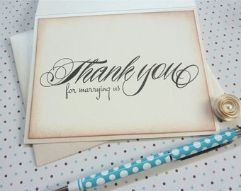 Wedding Officiant Card, Thank You for Marrying Us, Ask Minister Priest Rabbi, Vintage Inspired Weddings