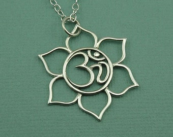 Om Necklace - Yoga Necklace, Om Jewelry, Sterling Silver Yoga Jewelry, Yoga Necklace, Yoga Gifts, Ohm Necklace