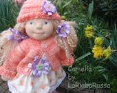 Camelia OOAK waldorf doll  16 in tecnic, curly teeswater hairmade by LaFiabaRussa la fiaba russa