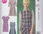 McCall's Pattern M7014 Misses' Princess Seamed Semi-Fitted Dresses with Split Neckline, Sleeve and Skirt Variations Sizes 6 - 14