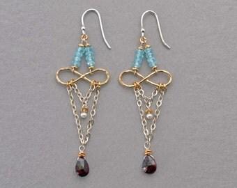 Dangling Garnets and Aquamarine Earrings