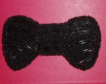 "K8137  Black Bow Applique Beaded Patch 2.5"" (K8137-bk)"